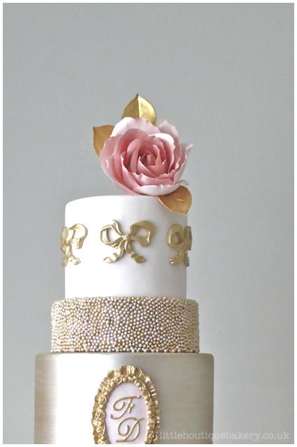 Pink & Gold Antoinette Wedding Cake