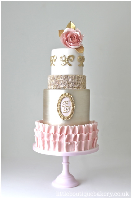 Blush Pink And Gold Wedding Cake Country House Surrey Little