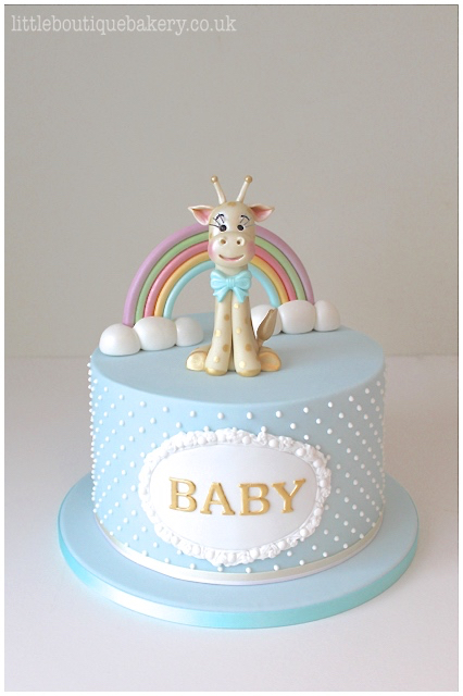 Giraffe & Rainbow Baby Shower Cake