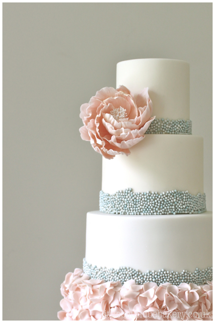 Beaded Ruffles Wedding Cake