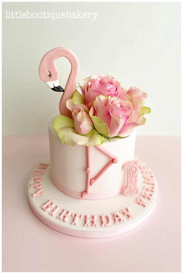 Flamingo and Roses Cake
