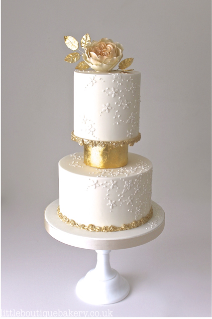 Gilded Ivory Wedding Cake