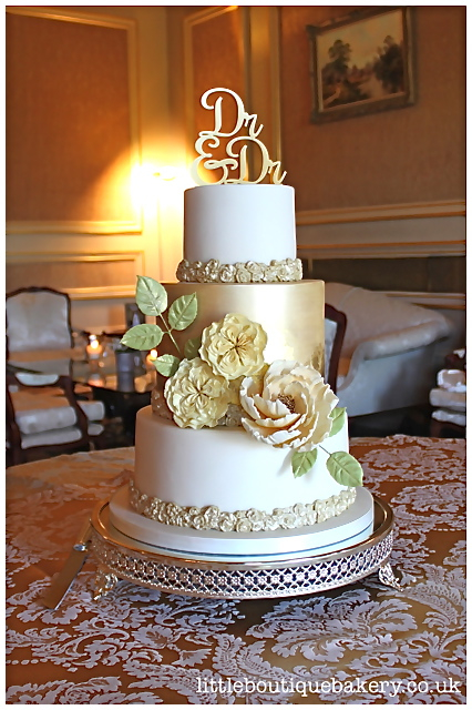 Gold Floral Wedding Cake