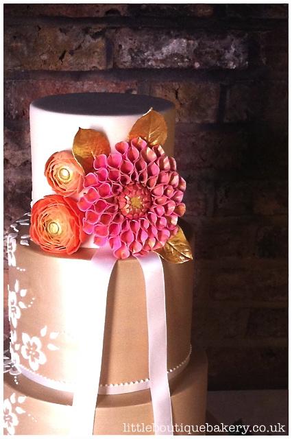 Gold Lace Dahlia Wedding Cake