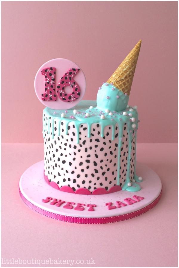 Ice Cream Dalmatian Print Cake