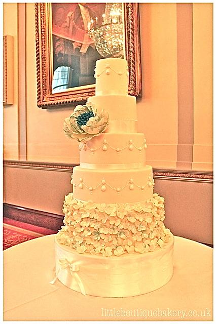 Luxe Peony & Pearls Wedding Cake