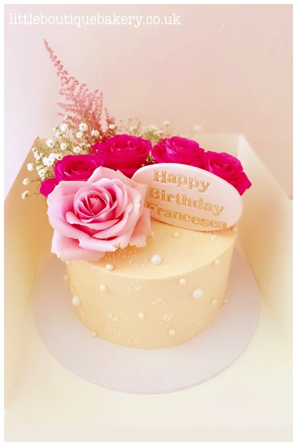 Pearls & Roses Buttercream Cake