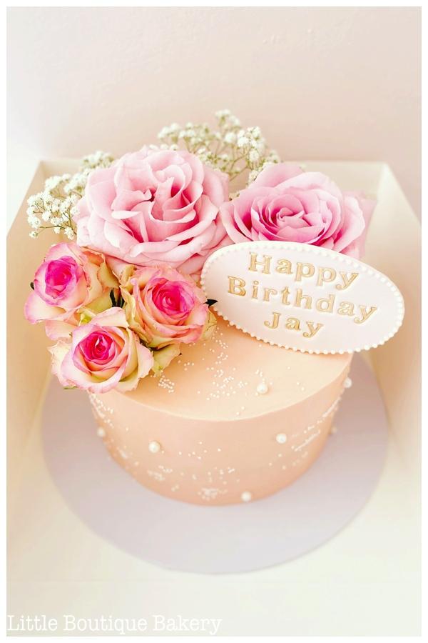Pink Rose Pearl Cake