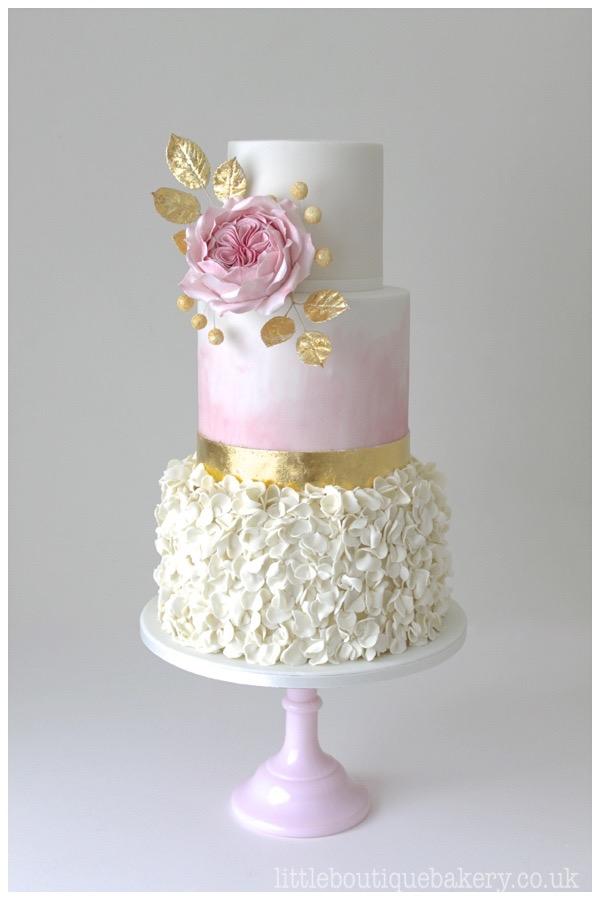 Rose & Gold Ruffle Wedding Cake