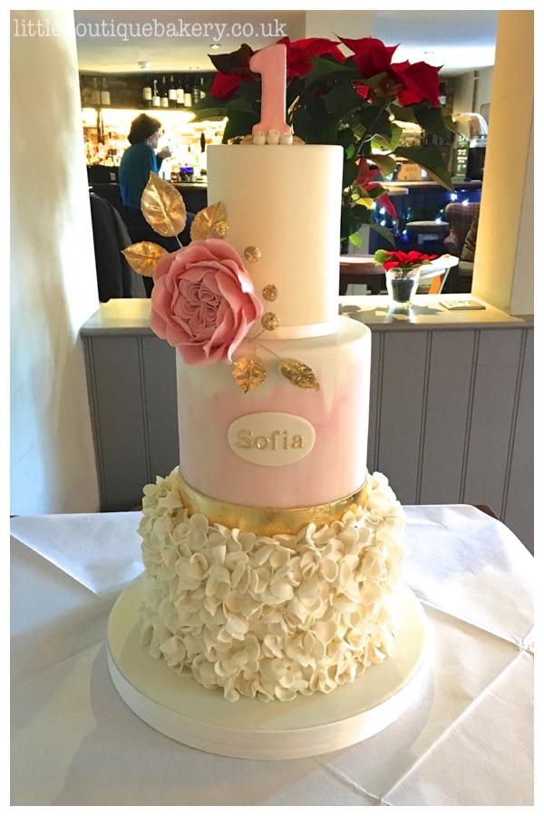 Rose Ruffle First Birthday Cake