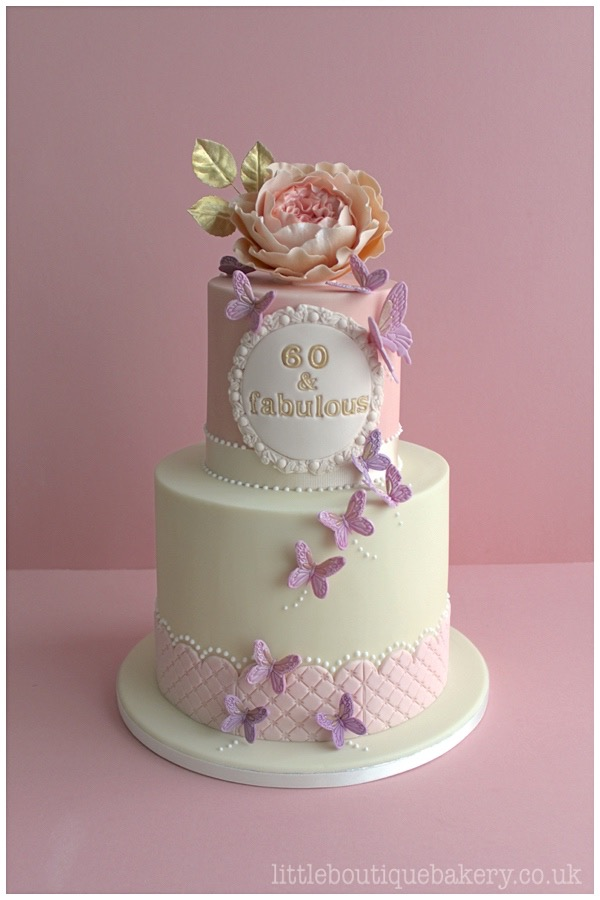 Rose Butterfly Birthday Cake