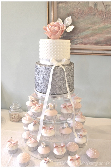 Silver Blush Cupcake Tower