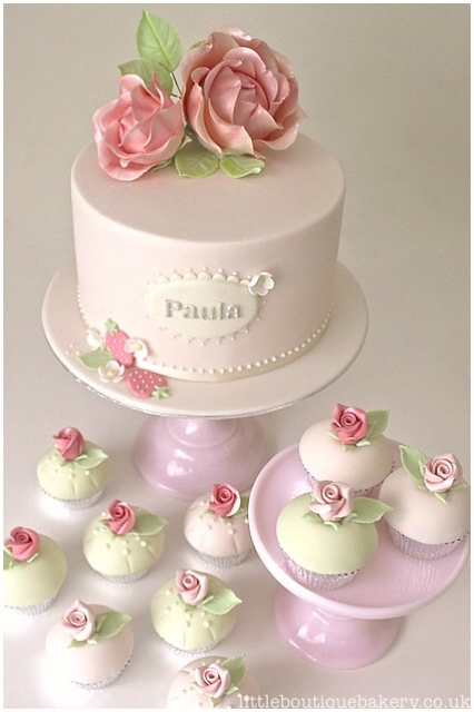 Roses Birthday Cake & Cupcakes