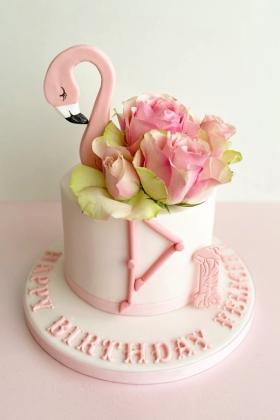 Flamingo and Roses Cake