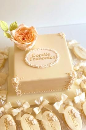 Garden Rose Christening Cake