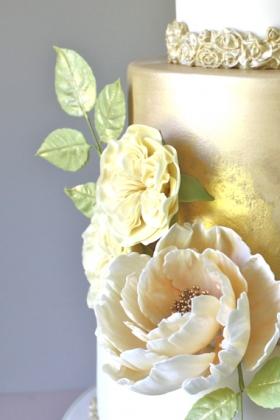 Gold Floral Wedding Cake