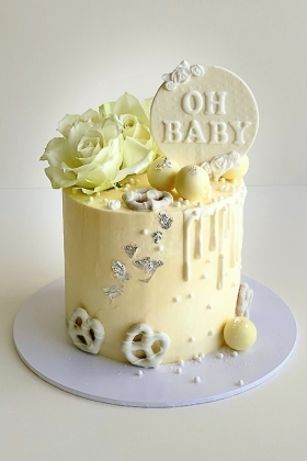 Neutral Baby Shower Buttercream Cake