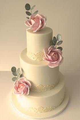 Open Rose Lace Wedding Cake