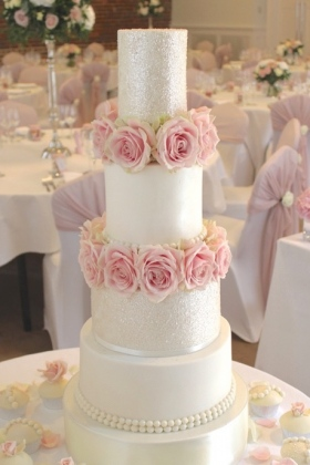 Sparkle Rose Pearl Wedding Cake