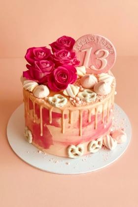 Pink Rose Drip Cake