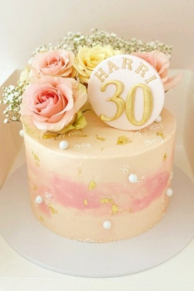 Roses, Pearls & Gold Cake