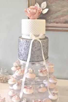 Silver Blush Cupcake Tower