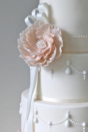 Peony Corsage & Pearls Wedding Cake