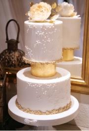 Gold Leaf Ivory Wedding Cake