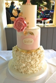 Rose Ruffle First Birthday Cake