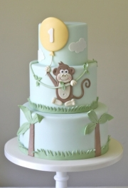 Monkey Balloon Birthday Cake