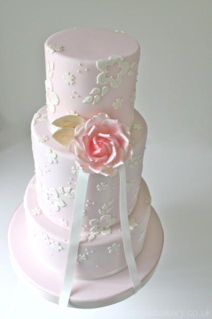 Blushing Rose Wedding Cake