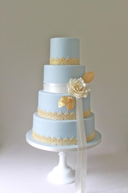 Gold Leaf & Lace Wedding Cake