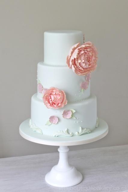Peony & Duck egg Wedding Cake