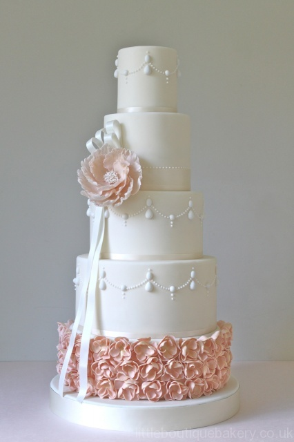 Peony & Pearls Five Tier Wedding Cake | Little Boutique Bakery