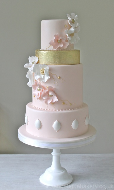 Pink & Gold Opal Wedding Cake