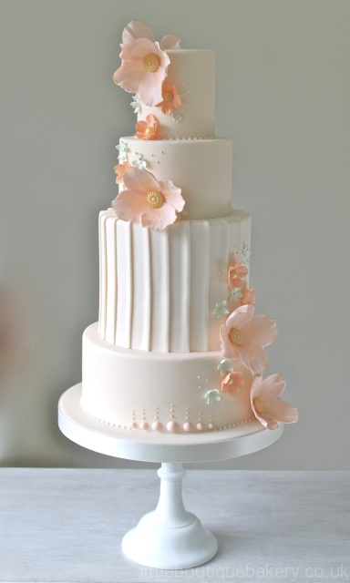 Pleats & Coral Wedding Cake