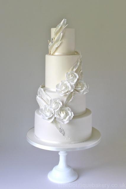 Roses & Ferns Wedding Cake