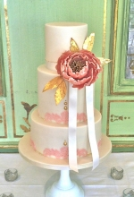 Luxe Peony Lace Wedding Cake