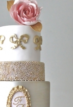 Pink & Gold Antoinette Wedding Cake