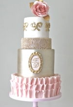 Blush Pink & Gold Antoinette Wedding Cake