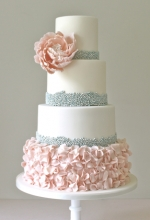 Beaded Ruffles Wedding Cake