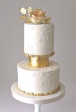 Gilded Ivory Wedding Cake