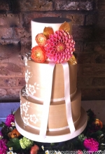 Gold Lace Dahlia Wedding Cake