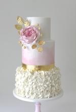 Rose Gold Ruffle Wedding Cake