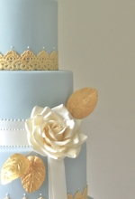 Gold Leaf & Lace Wedding Cake