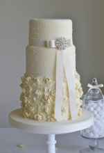 Cream Ruffle Wedding Cake