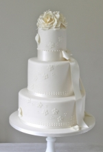 Ivory Rose Wedding Cake