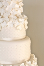 Hydrangea & Pearls Cascade Wedding Cake