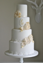 White & Gold Floral Lace Wedding Cake
