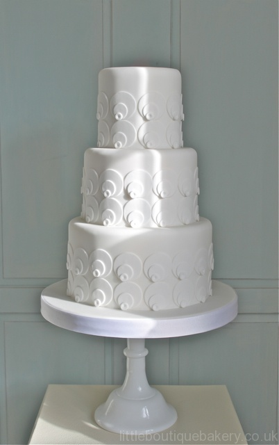 White Geometric Wedding Cake